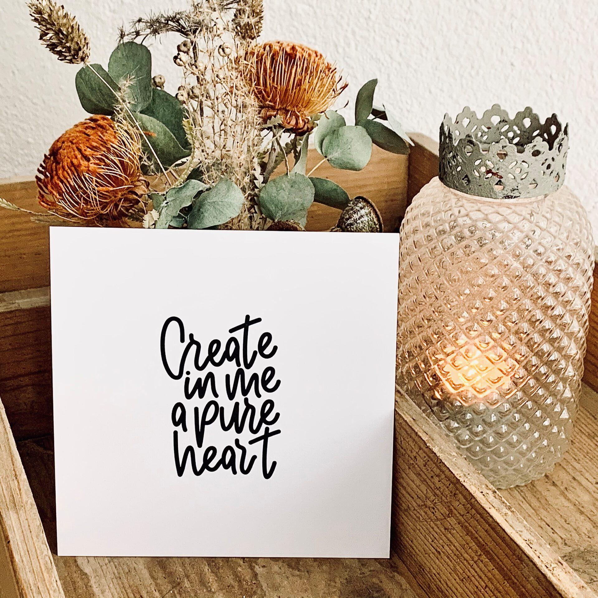 "Karte quadratisch ""create in me"""