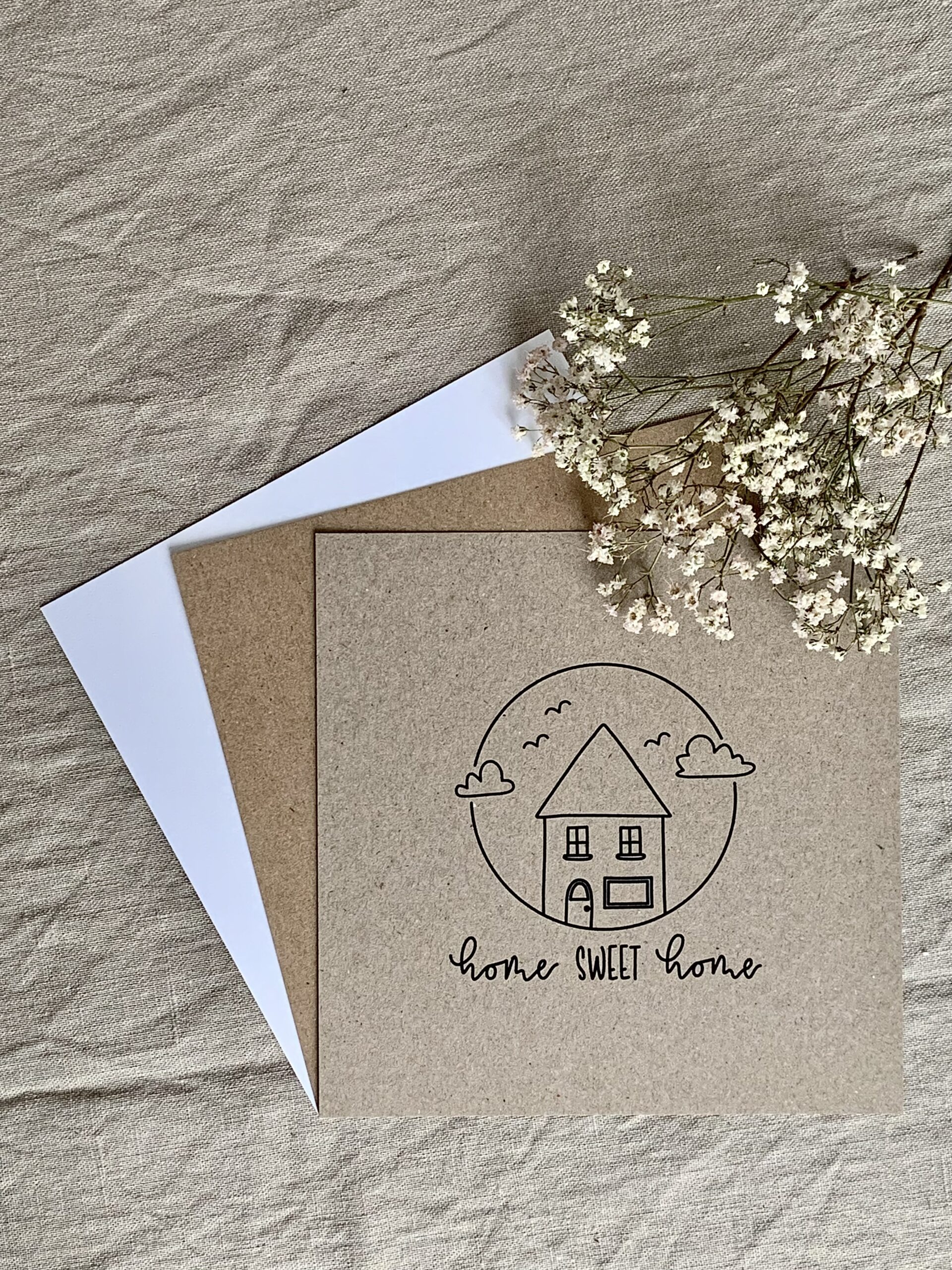 """Karte quadratisch """"home sweet home"""""""