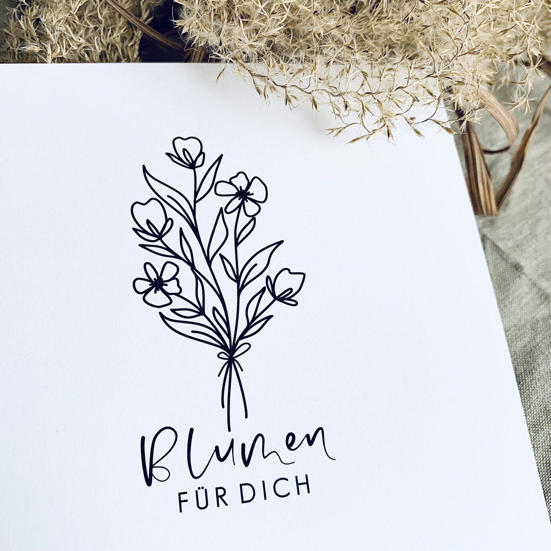 """Karte quadratisch """"Blumen für dich"""""""